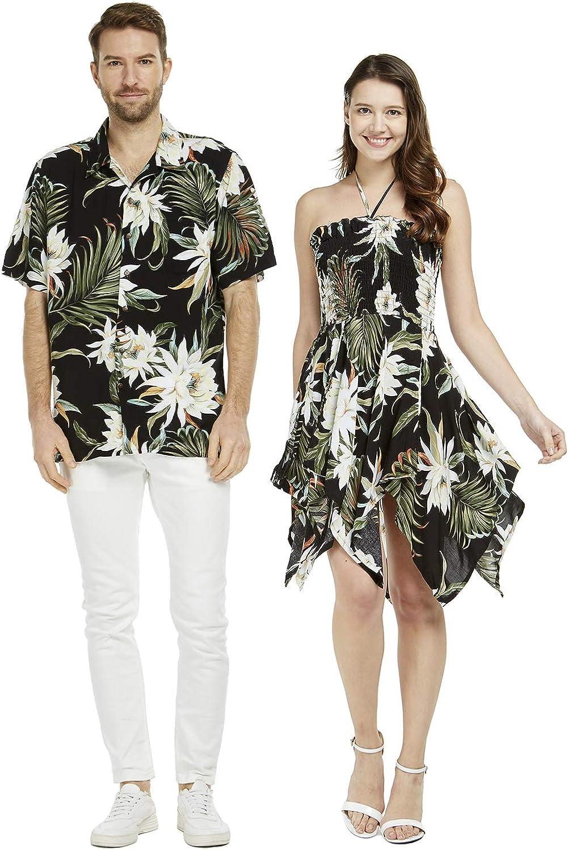Couple Matching Hawaiian Luau Aloha Shirt Gypsy Dress in Wispy Cereus Black