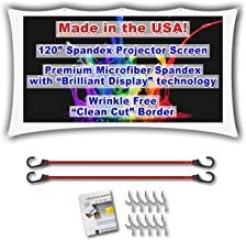 """120"""" inch Portable Spandex Projector Screen. Complete Kit Includes 5'x9' Stretch Fabric Material & Hardware for Indoor or Outdoor Back Yard Movie Screen use. 3D DLP Ready with Both Front & Rear Projection Capability (unlike Blackout Cloth)"""