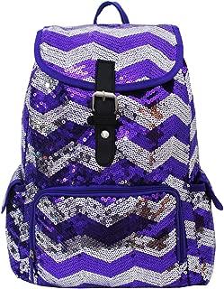 2 Tone Sequin Drawstring Cheer Yoga Dance Girly School Backpack Bookbag (Purple)