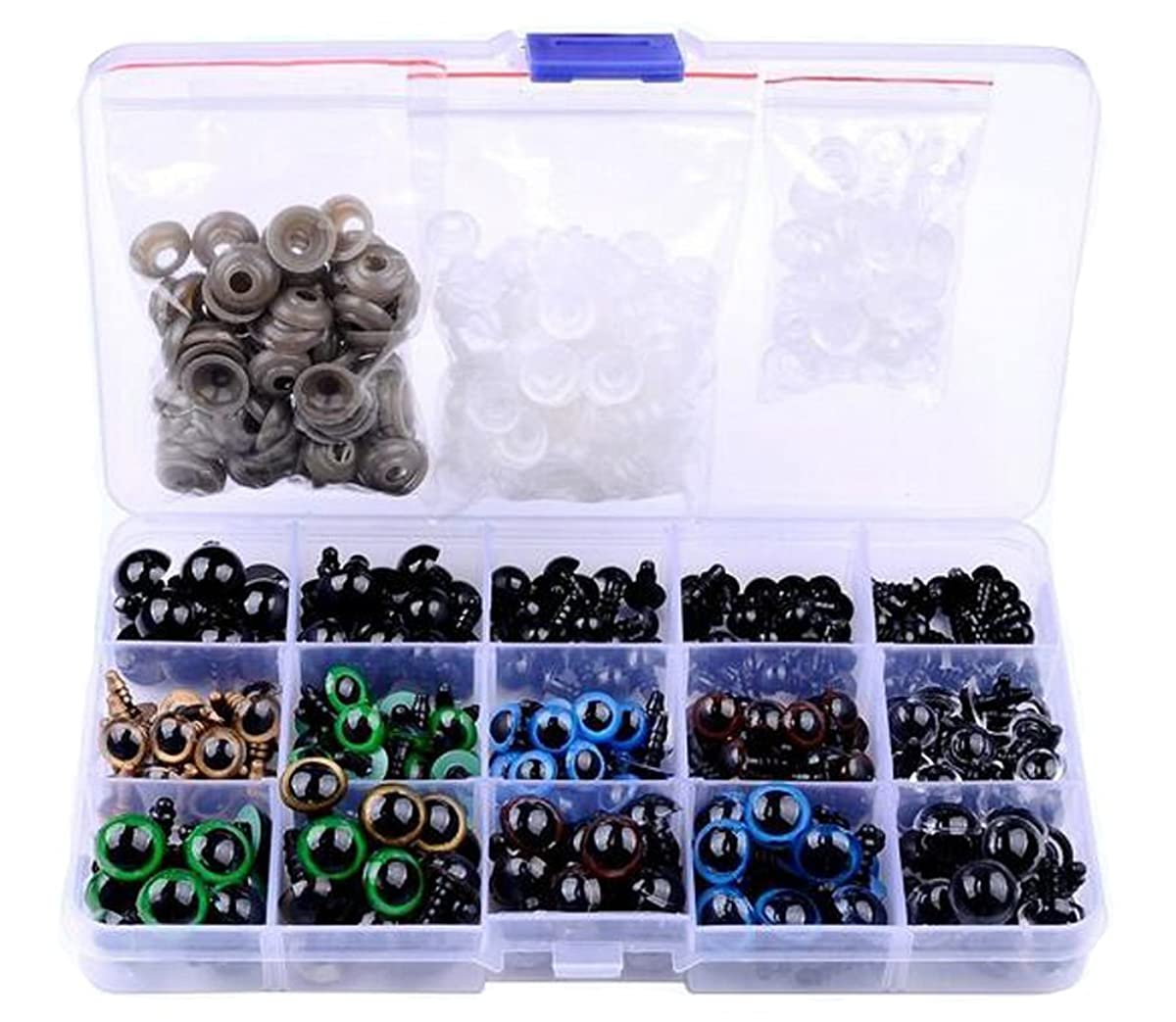 1Box(264Pcs) 6mm-12mm Plastic Safety Noses Eyes DIY Sewing Craft Buttons with Washers for Bear Doll Puppet Animal and All Stuffed Toys(Mix Color)