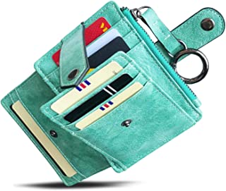 AOXONEL Womens Slim Minimalist RFID Card Holder Front Pocket Wallet,Ladies Mini Coin Purse With Keychain