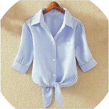 Blusa de algodón para Mujer, Camisa Blanca Suelta de Manga ...
