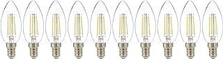 Narken 10 Pieces/Pack C35 4W E14 Small Edison Screw Type Warm white 3000K LED Power Saving Classic Clear Filament Bulb Lig...