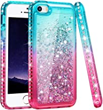 Ruky iPhone 5 5S Case, iPhone SE Case, Gradient Quicksand Series Glitter Flowing Liquid Floating Sparkly Bling Diamond Soft TPU Girls Women Cute Case for iPhone 5 5S SE (Teal Pink)