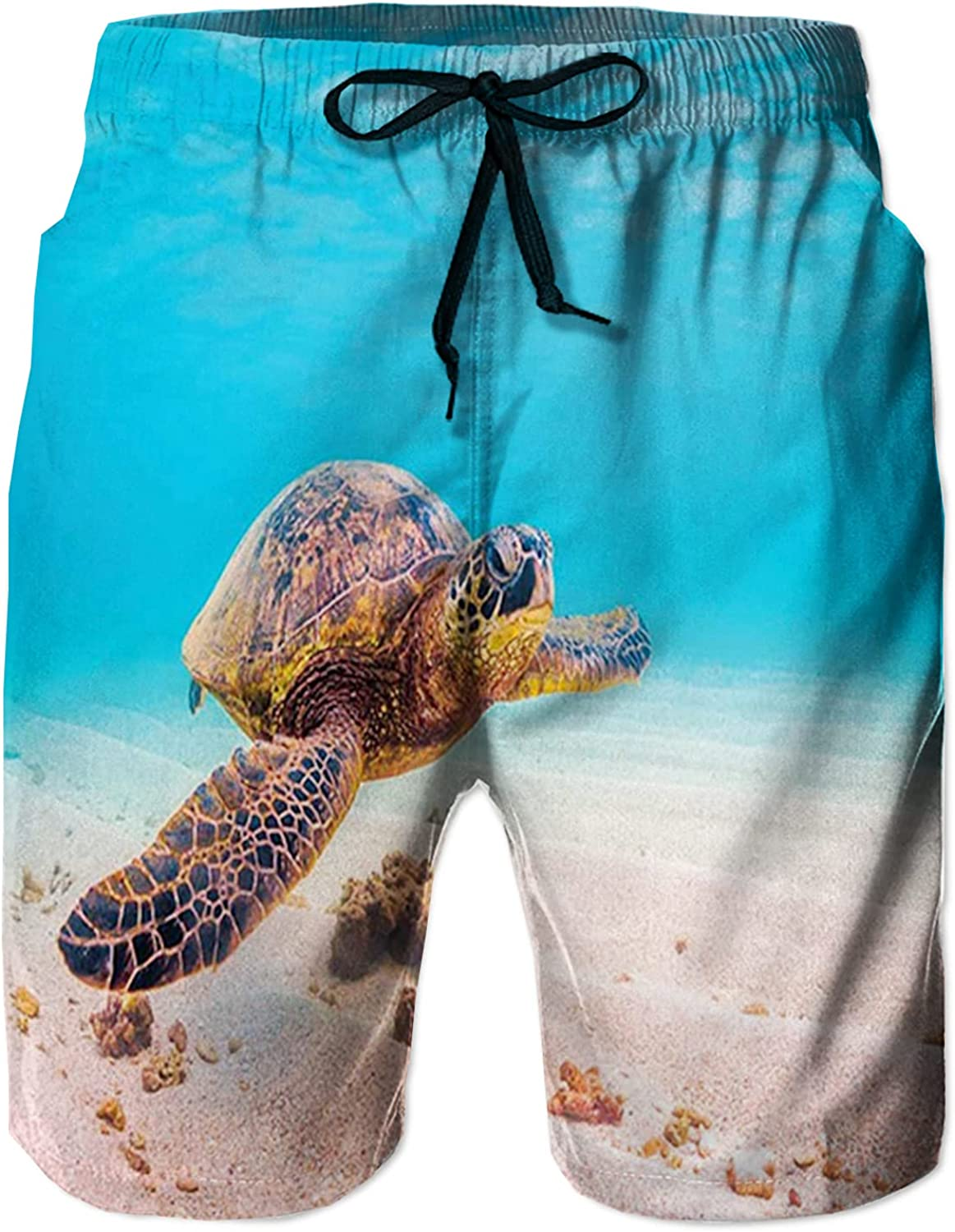 Men's Long Swim Trunks with Mesh Lining Beach Bathing Suits Board Shorts Swimwear with Pockets and No Mesh,Hawaiian Green Sea Turtle Cruises in Warm Waters of The Pacific Ocean Photo L