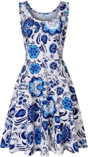 HOUJ Womens Vintage O-Neck Tank Dresses Sleeveless Floral Print Dress Silver US L