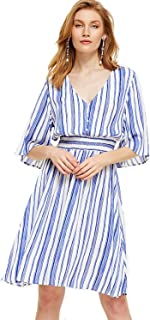 blue and white striped floral dress