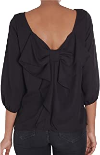Humble Chic Bow Back Blouse - Long Sleeve Chiffon Top Backless Shirt for Women - Made in USA