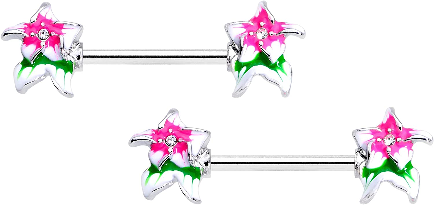 Body Candy 14G Womens Nipplerings Piercing 316L Steel 2Pc Clear Accent Tropical Flower Nipple Ring Set 9/16