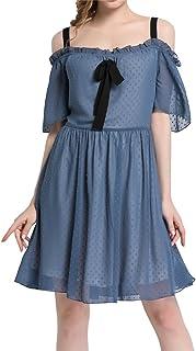 eb51a5adbae Luna et Margarita Robe Femme Bleue à Bretelles Évasée en Mousseline De Soie