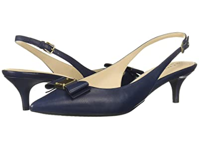 Cole Haan 45 mm Tali Bow Sling (Marine Blue Leather) Women