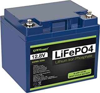 ExpertPower 12V 50Ah Lithium LiFePO4 Deep Cycle Rechargeable Battery | 2500-7000 Life Cycles & 10-Year lifetime | Built-in BMS | Perfect for RV, Solar, Marine, Overland, Off-Grid Applications