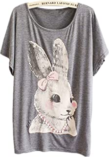 TangB Women's Miss Rabbit Print T-Shirt Tee Top