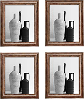 Q.Hou 8x10 Picture Frame Rustic Brown Wood Pattern Photo Frames 4 Packs for Tabletop or Wall Mount (QH002-MD8X10-RB)