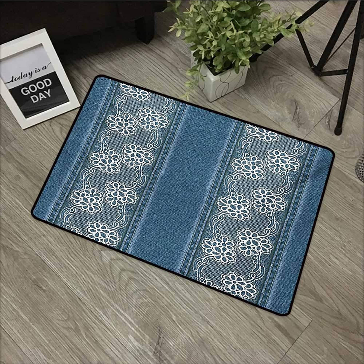 Door mat W35 x L59 INCH Floral,bluee Jeans Background with White Flower Motifs Pattern Denim Themed Digital Print,bluee White with Non-Slip Backing Door Mat Carpet