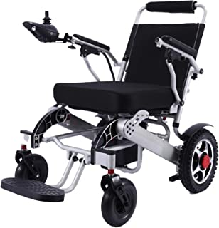 New Model 2019 Fold & Travel Lightweight Motorized Electric Power Wheelchair Scooter, Aviation Travel Safe Electric Wheelchair Scooter Heavy Duty Power Wheelchair, (19 Inch Seat Silver)