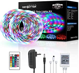 DAYBETTER Led Strip Lights 32.8ft 10m with 24 Keys IR Remote and 12V Power Supply Flexible Color Changing RGB 600 LEDs Light Strips Kit for Home, Bedroom, Kitchen,DIY Decoration No White Color