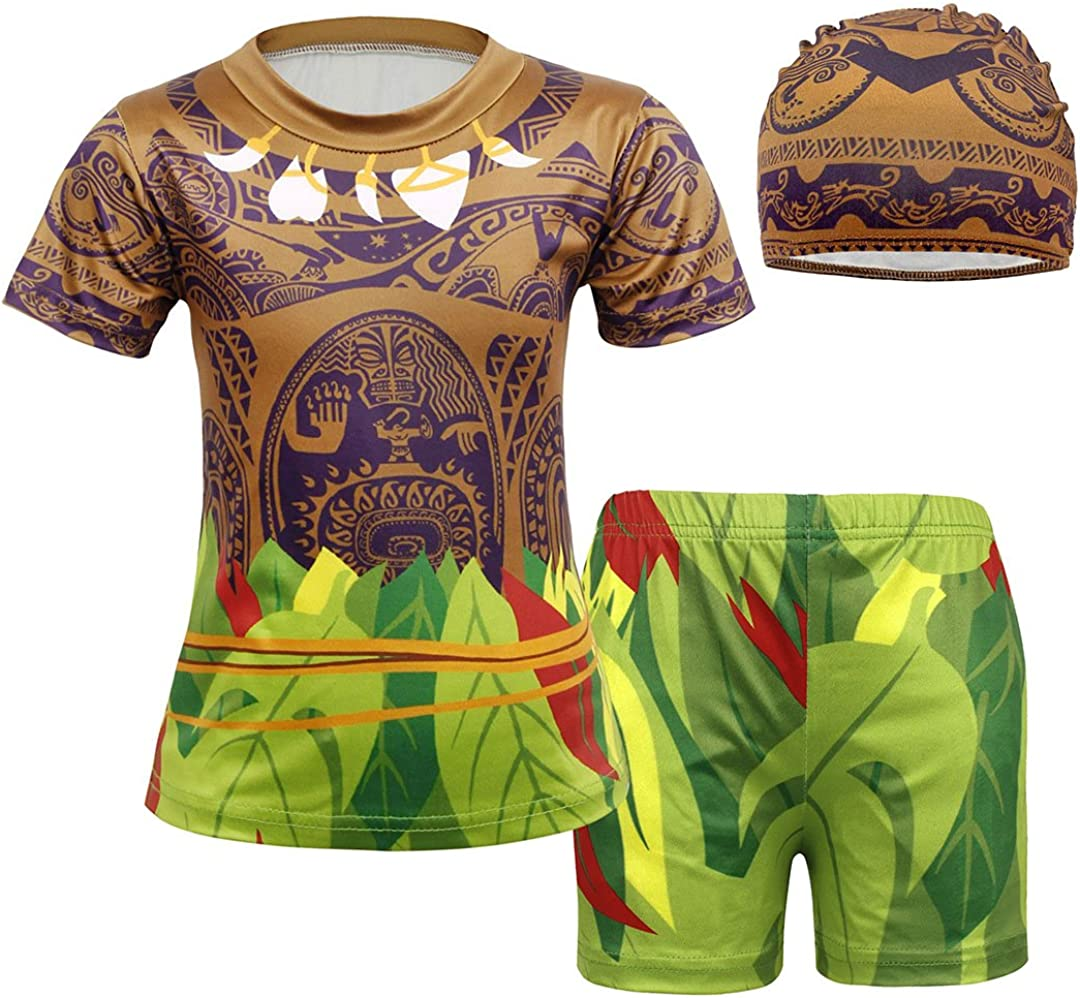 COTRIO Boys Two-Pieces Swimsuits Kids Rash Guard Swimming Bathing Suits Swim Trunk and Rashguard