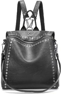 Fashion Backpack, JOSEKO Casual Rucksack with Rivet Leather Daypack Shoulder Bag for Women Black