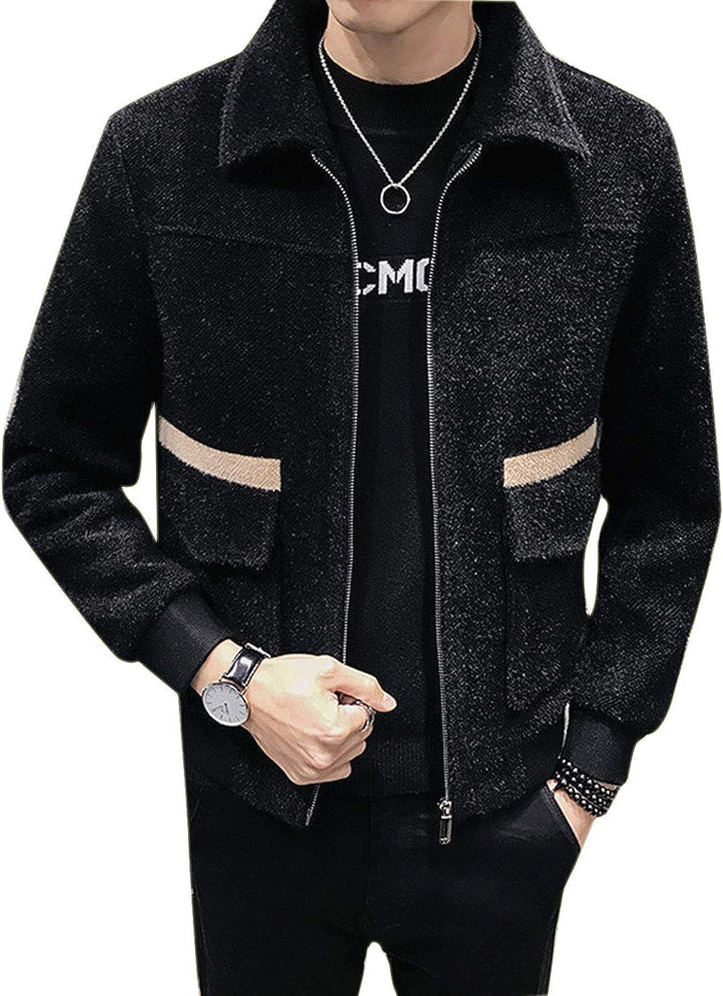 Omoone Men's Loose Long Sleeve Single Breasted Wool Blend Cozy Jacket Coat