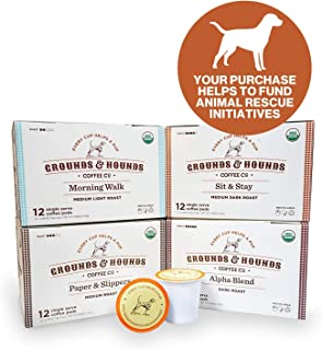 Grounds & Hounds Four Blend Single Serve Bundle - 4 Boxes of 12 Count, 48 Count total - Compatible with Keurig K Cup Machines - 100% Arabica Small Batch Roasted - Recyclable