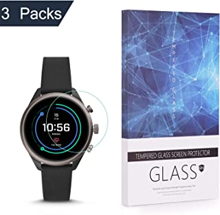 BECROWM Tempered Glass Screen Protector 9H Hardness Protective Glass Compatible with Fossil Sport Smartwatch(41mm Case Ver...