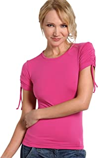 SENSI' T-Shirt Donna Manica Corta Arricciata MicrofibraTraspirante Senza Cuciture Seamless Made in Italy