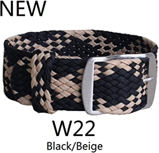 20mm 22mm Nylon Perlon Woven watchbands Bracelet Cambo Army Military Fabric Woven Watch Strap Band Buckle Belt Black/White/Red,W22 Black Beige,20mm
