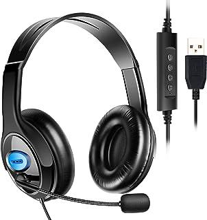 ヘッドセット USB式 両耳 マイク付き 120度回転 高音質 ヘッドフォン ヘッドバンド調整 音量調節 ノイズキャンセリング 通気 ヘッドホン パソコン ゲーム用 会議 在宅勤務 (ブルー)