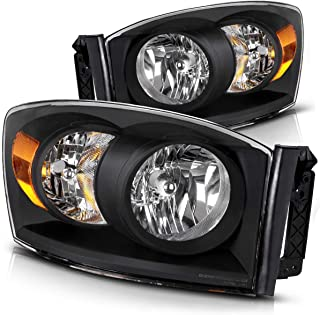 Headlight Assembly for 2006 2007 2008 Dodge Ram 1500 2500 3500 Pickup Replacement Headlamp Driving Light Black Housing Amber Reflector Clear Lens