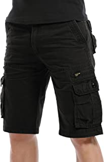 LANBAOSI Men's Cotton Cargo Shorts Tactical Multi Pockets Short Lightweight