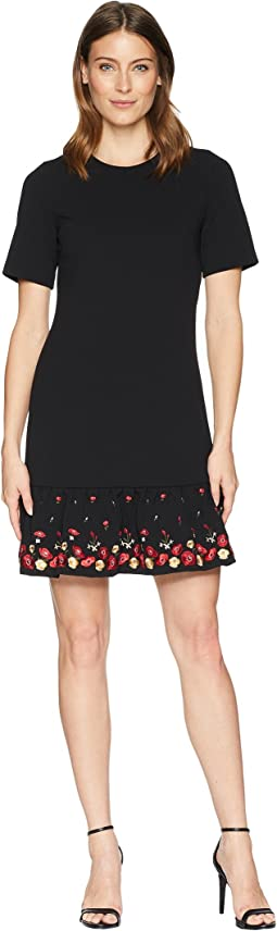 Embroidered Flounce Hem Short Sleeve Dress CD8C11PT