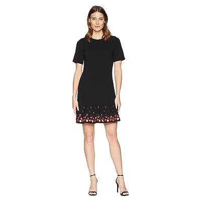 Calvin Klein Embroidered Flounce Hem Short Sleeve Dress CD8C11PT (Black Multi) Women