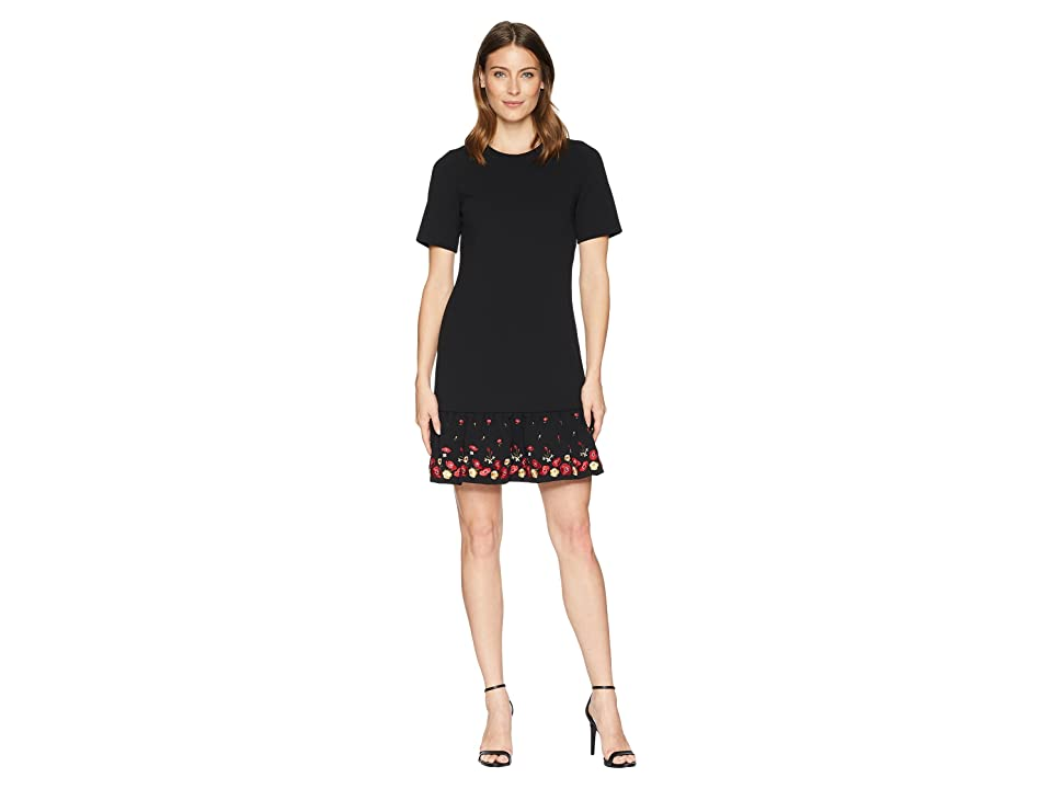 Calvin Klein Embroidered Flounce Hem Short Sleeve Dress CD8C11PT (Black Multi) Women