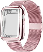 YC YANCH Band Compatible with Apple Watch 38 mm 40mm 42 mm 44mm with Case, Stainless Steel Mesh Loop Band with Apple Watch...
