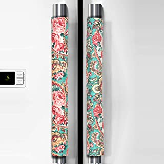 OUGAR8 Refrigerator Door Handle Covers Handmade Decor Protector for Ovens, Dishwashers.Keep Your Kitchen Appliance Clean from Smudges, Food Stains (Retro Rose, 14.5