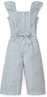 Hope & Henry Girls' Wide Leg Short Ruffle Sleeve Jumpsuit with Button Front