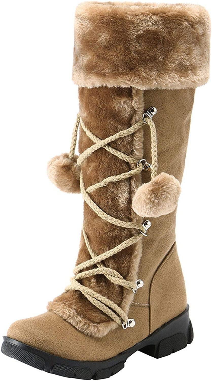 Spinning Boots shoes Suede Hairball Round Toe Square Heel shoes Short Plush Zipper Boots Brown