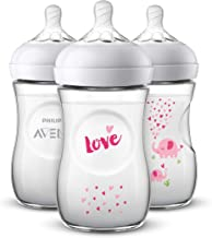 Philips Avent Natural Baby Bottle with Pink Elephant Design, 9oz, 3pk