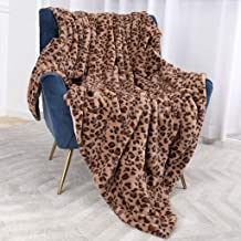 Bonzy Home Luxury Faux Fur Throw Blanket, Super Soft Fuzzy Cozy Warm Fluffy Plush Hypoallergenic Reversible Blankets for Bed Couch Chair Fall Winter Spring Living Room (50 x 60) - Brown Leopard Print