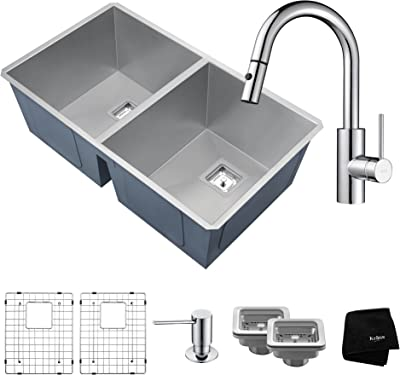 Kraus KHU322-2620-41SS 31 ½ Inch Stainless Steel Combo with Pax Zero-Radius Handmade Undermount 50/50 Double Bowl 16 Gauge Sink and Oletto Single Handle Pull Down Kitchen Faucet with Soap Dispenser