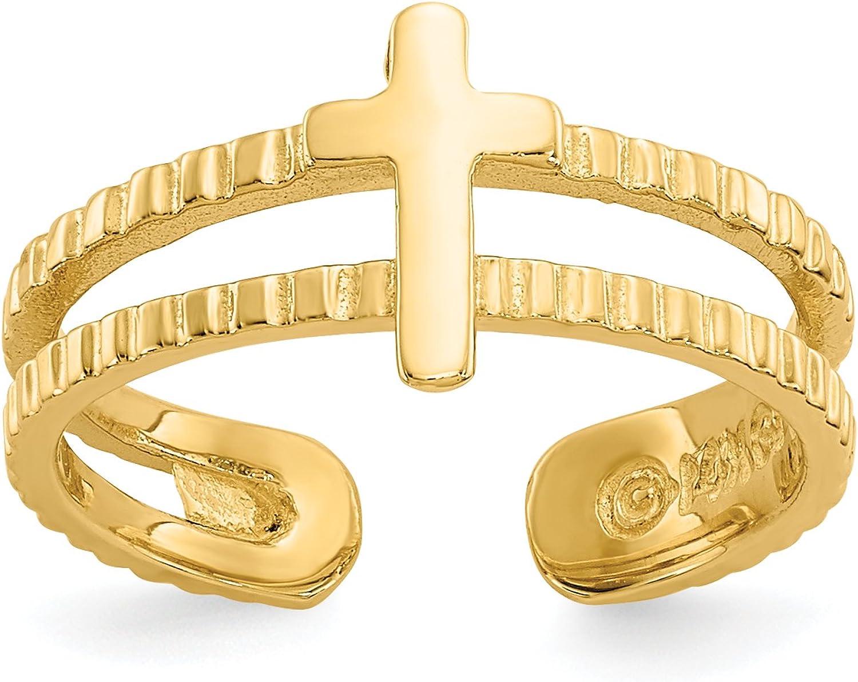 14k Yellow Gold Latin Cross Split Shank Accented Toe Ring