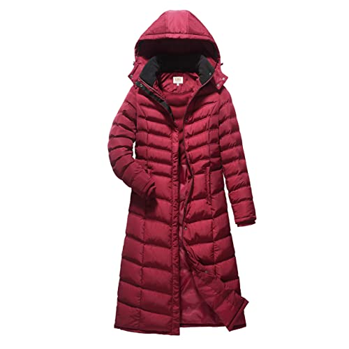 a59efc5c485 ELORA Women s Full Length Winter Fleece Lined Plus Size Maxi Puffer Coat