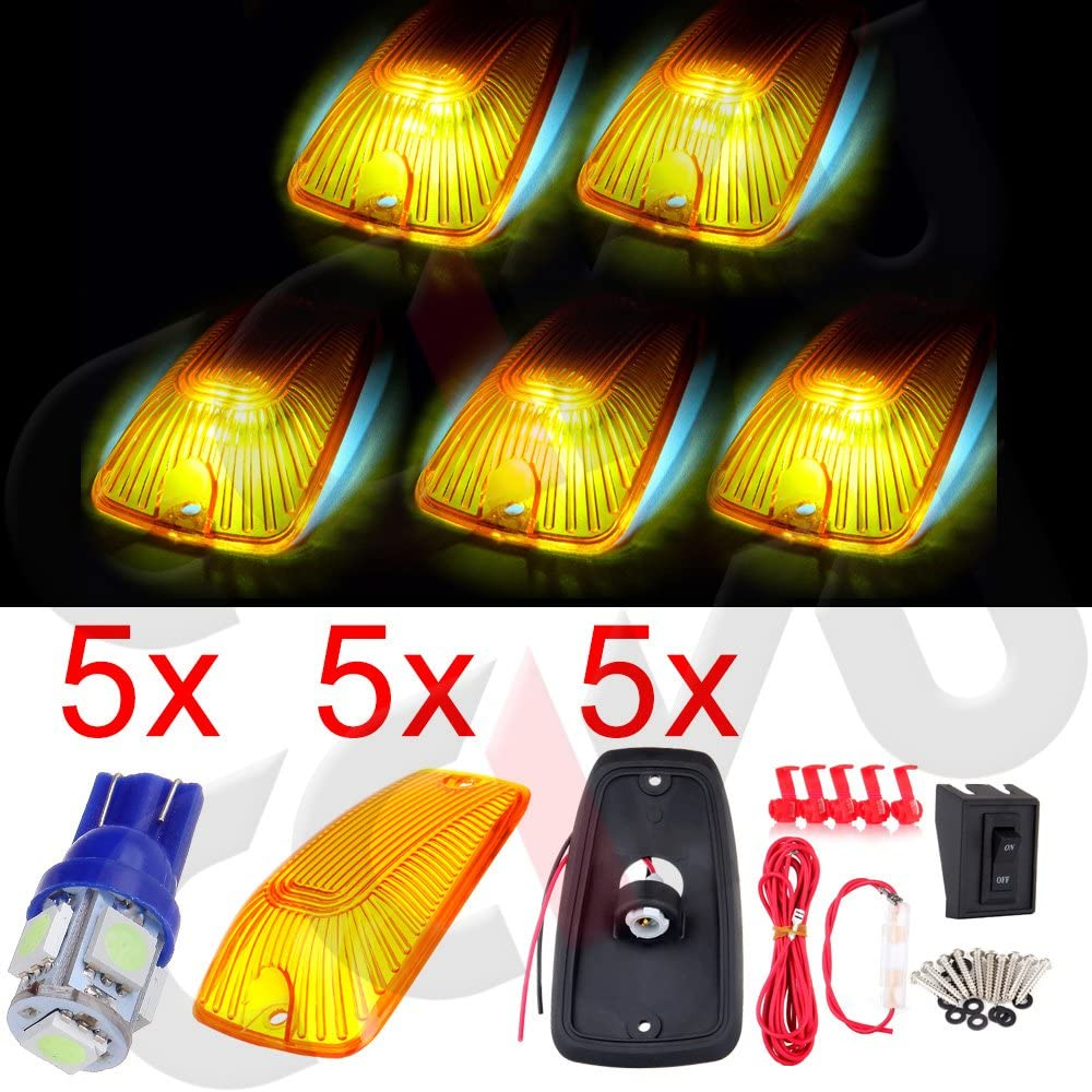 cciyu High order 5PCS Cab Limited time cheap sale Marker Running Light Amber Lens with Base Housing