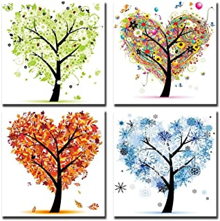 Cairnsi 4 Piece Modern Framed Landscape Artwork Canvas Prints Pictures Paintings on Canvas Wall Art Ready to Hang for Living Room Bedroom Home Decor, Four Seasons Heart Shaped Leaves Tree