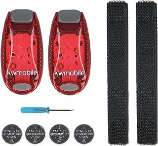 kwmobile 2er Set LED Sicherheitslicht - Dauerlicht Blinklicht Licht Clip Joggen Sport - mit Batterien und Klett Armband - Sicherheit Licht