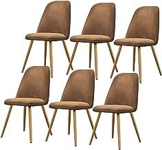 ZCXBHD Lekkie luksusowe skandynawskie krzesła do jadalni krzesło do jadalni zestaw 6 krzeseł z muszli do połowy wieku nowo...