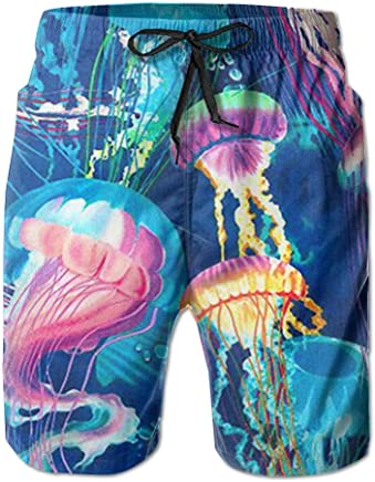 85f232600f472 PPANFKEI Jellyfish Medusa Mens Casual Board Shorts Loose Fit Linen Swimming  Trunks Basketball Shorts