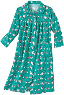 AmeriMark Soft Flannel Cotton Duster Robe Housecoat with Snaps and Patch Pockets