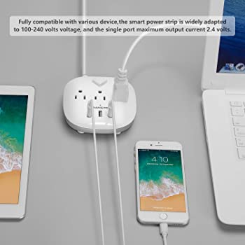 Power Strip 3 Outlets and 3 USB Ports with Switch Control, Desktop Charging Station with 5 ft Extension Cord, Compact...